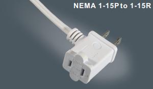 美国两芯插头带插座
