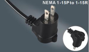 美式两芯插头带插座