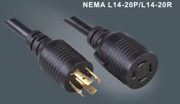 美国标准带锁插头延长线L14-20P/L14-20R