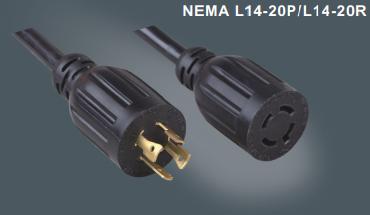 美国标准四芯自锁插头延长线