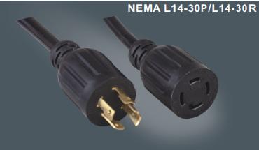 美国标准四芯自锁延长线