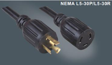 美国三芯标准自锁插头延长线