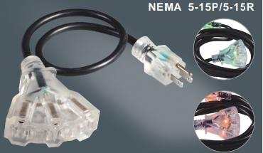 美国标准电源线延长线插头插座