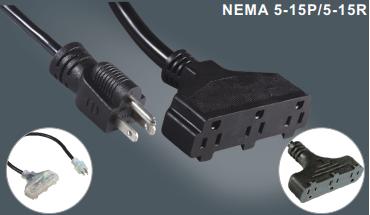 美国标准延长电源线插头插座一拖三