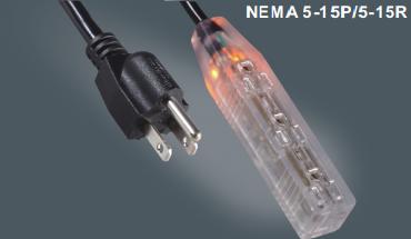 美国标准三芯插头延长线