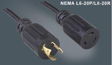 美国标准自锁插头插座延长线