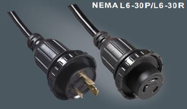美国标准延长线插头带锁插头L6-30P/L6-30R